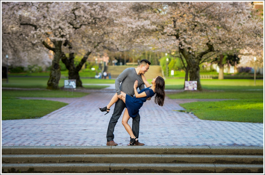 UW Cherry Blossoms Engagement Session-12