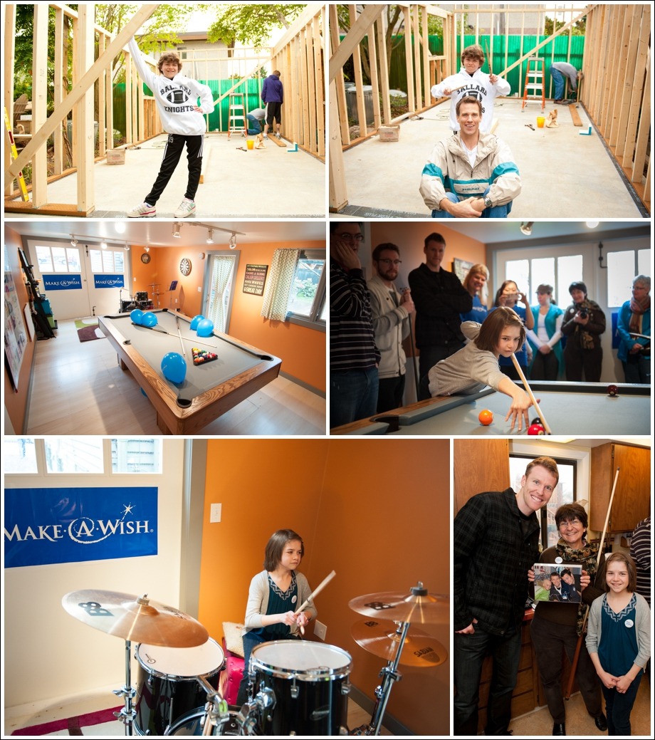 Louisa's wish room, before and after photos. Lower right corner is former Sounder player, Taylor Graham with Louisa.
