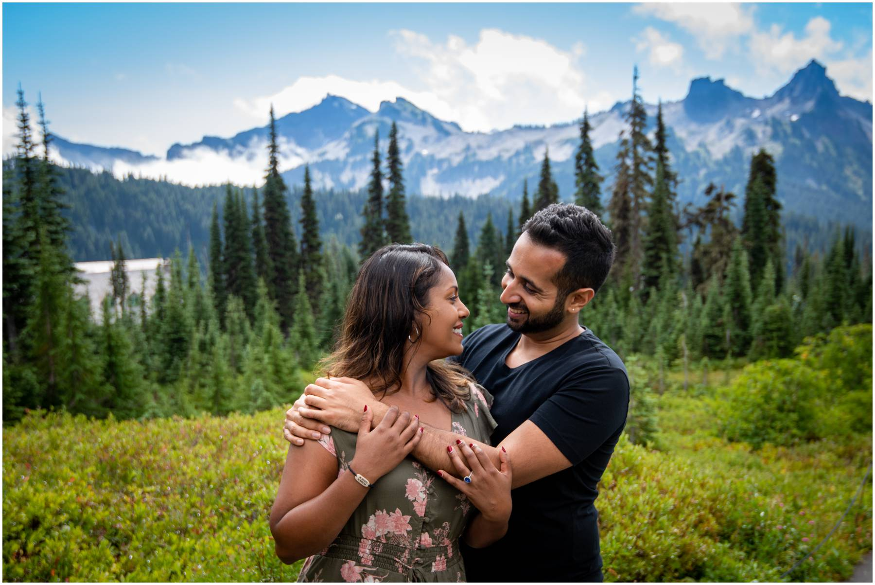 At Mt. Rainier for engagement photography session with Tatoosh Range in background.